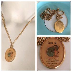 Vintage Love Is Pendant Necklace
